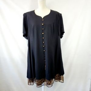 Vintage Plus Black Leopard Print Skater Dress 22W